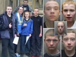 no regrets! five grinning teenagers give the thumbs-up sign outside court ... just moments after they were handed asbos for terrorising neighbourhood with arson, vandalism and racist abuse